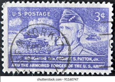 UNITED STATES - CIRCA 1953: stamp printed in USA, shows General Patton, circa 1953