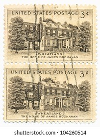 "UNITED STATES - CIRCA 1956: A stamp printed in the United States, shows President Buchanan Home, ""Wheatland"", Lancaster, circa 1956"