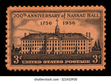 UNITED STATES - CIRCA 1956: A stamp printed in USA shows Nassau Hall, Princeton, New Jersey, 200th Anniversary, circa 1956