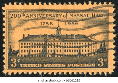 UNITED STATES - CIRCA 1956: stamp printed by United states, shows Nassau Hall, Princeton, circa 1956