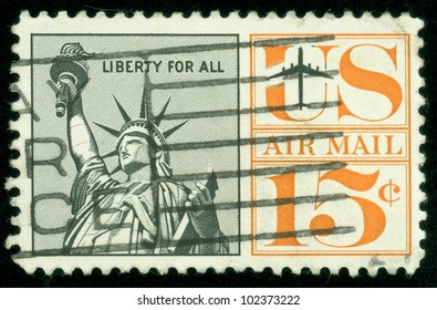 UNITED STATES - CIRCA 1959: A postage stamp of the printed in the United States, shows Statue of Liberty, circa 1959