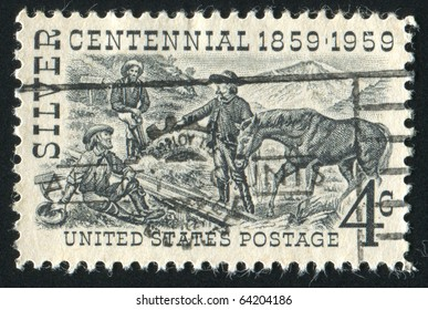 UNITED STATES - CIRCA 1959: stamp printed in United states, shows Henry Comstock at Mount Davidson Site, circa 1959