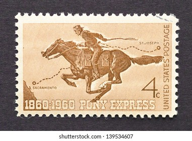 UNITED STATES - CIRCA 1960: a postage stamp printed in USA to celebrate the centennial of the Pony Express the first american mail delivery system, circa 1960.
