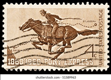 UNITED STATES - CIRCA 1960's : A stamp printed in United States. Honoring 100 yrs of the Pony Express the first American mail delivery system. United States - CIRCA 1960's
