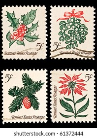 UNITED STATES - CIRCA 1960's : A stamp printed in United States.  Christmas postage stamps. United States - CIRCA 1960's