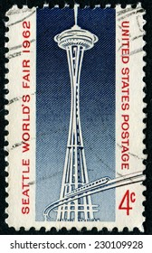 UNITED STATES - CIRCA 1962: A United States Postage Stamp celebrating the 1962 Seattle Worlds Fair, circa 1962.