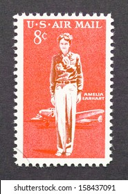 UNITED STATES - CIRCA 1963: a postage stamp printed in USA showing a image of Amelia Earhart, circa 1963.