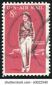 UNITED STATES - CIRCA 1963: stamp printed by United states, shows Amelia Earhart Lockheed Electra, circa 1963