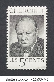 UNITED STATES - CIRCA 1965: a postage stamp printed in USA showing an image of sir Winston Churchill, circa 1965.