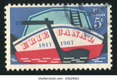 UNITED STATES - CIRCA 1967: stamp printed by United states, shows Stern of Early Canal Boat, circa 1967