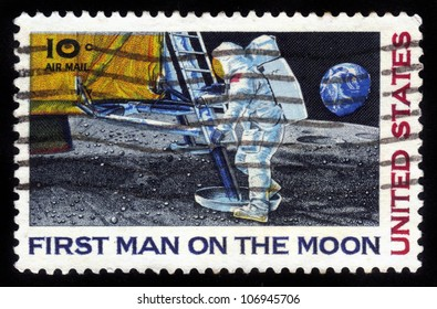 UNITED STATES - CIRCA 1968: stamp printed by United states, shows First Man on the Moon, Neil Armstrong's first step on the moon , circa 1968
