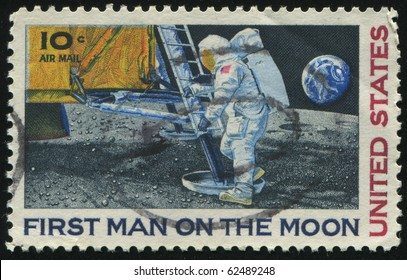 UNITED STATES - CIRCA 1968: stamp printed by United states, shows First Man on the Moon, circa 1968.