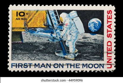 UNITED STATES - CIRCA 1969: mail stamp featuring Neil Armstrong's first step on the moon, circa 1969