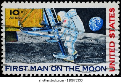 UNITED STATES - CIRCA 1969:  stamp printed by the United States, to honor the first man on the moon, on July 21, 1969