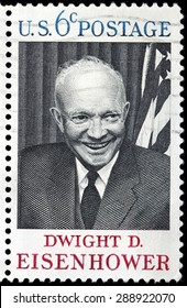 UNITED STATES - CIRCA 1969: A stamp printed by USA shows image portrait of Dwight Eisenhower - the 34th President of the United States from 1953 until 1961, circa 1969.