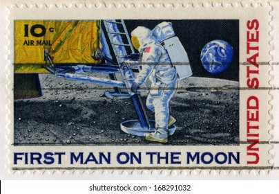 UNITED STATES, CIRCA 1969: A vintage 10 cent US Postal Stamp celebrating the First Moon Landing, circa 1969.