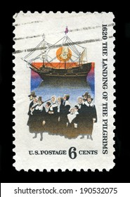 UNITED STATES, CIRCA 1970: A United States Postage Stamp commemorating the 350th Anniversary of the Mayflower landing in Massachusetts, circa 1970.