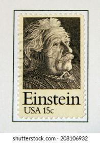 UNITED STATES - CIRCA 1970's : A stamp printed in United States. Portrait of Albert Einstein. United States - CIRCA 1970's