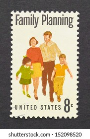 UNITED STATES - CIRCA 1972: a postage stamp printed in United States showing an image of family planning campaign, circa 1972 .