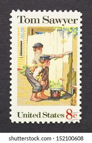 UNITED STATES - CIRCA 1972: a postage stamp printed in USA showing an image of Tom Sawyer by Mark Twain, circa 1972.
