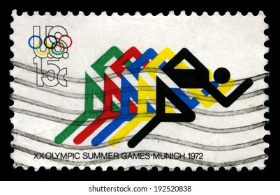 UNITED STATES - CIRCA 1972: A United States Postage Stamp celebrating the 1972 Summer Olympic Games held in Munich, circa 1972.