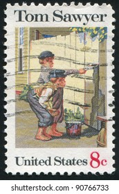 """UNITED STATES - CIRCA 1972: stamp printed by United States of America, shows illustration """"Tom Sawyer"""" by Norman Rockwell, circa 1972"""