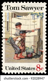 UNITED STATES - CIRCA 1972: A stamp printed in the United States shows Tom Sawyer, by Norman Rockwell, American Folklore Issue, circa 1972