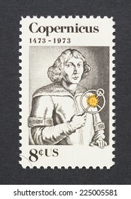 UNITED STATES - CIRCA 1973: a postage stamp printed in USA showing an image of Nicolaus Copernicus, circa 1973