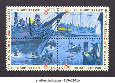 UNITED STATES - CIRCA 1973: a set of four postage stamps printed in USA showing an scene of The Boston Tea Party, circa 1973.