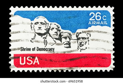 UNITED STATES - CIRCA 1974: mail stamp printed in USA featuring the Mt Rushmore Memorial Monument, circa 1974