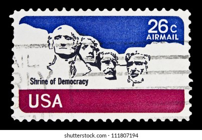 "UNITED STATES - CIRCA 1974: stamp printed in United states (USA), shows Rushmore National Memorial, with inscription ""Shrine of Democracy"", from the series ""Air Mail"" circa 1974"
