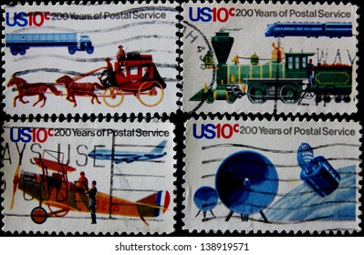 UNITED STATES - CIRCA 1975: Post stamps printed in USA devoted 200 years of Postal Service, circa 1975
