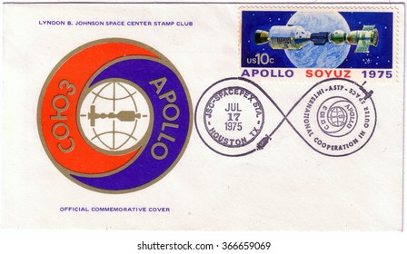 UNITED STATES - CIRCA 1975: postal stamp printed in USA shows the Apollo Soyuz test project, with a first day issued stamp, circa 1975.