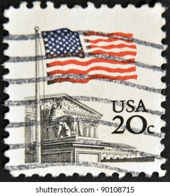 UNITED STATES - CIRCA 1980: A stamp printed in United states shows Flag Over Supreme Court Issue, circa 1980