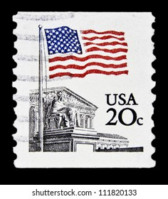 """UNITED STATES - CIRCA 1981: stamp printed in United states (USA), shows American flag and the Supreme Court, without inscription, from series """"Flag Issue"""", circa 1981"""