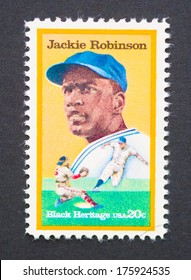 UNITED STATES - CIRCA 1982: a postage stamp printed in USA showing an image of Jackie Robinson, circa 1982.