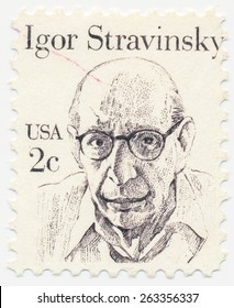UNITED STATES - CIRCA 1982: A stamp printed in the United States, shows portrait of the Igor Stravinsky (1882-1971), circa 1982