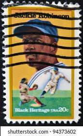 UNITED STATES - CIRCA 1982: stamp printed in USA shows Jackie Robinson, circa 1982