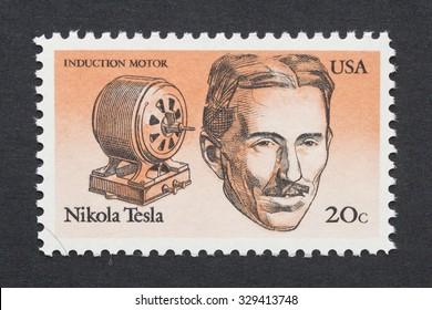 UNITED STATES - CIRCA 1983: a postage stamp printed in USA showing an image of Nikola Tesla, circa 1983.