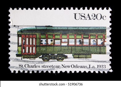 """UNITED STATES - CIRCA 1983: a stamp printed in USA depicting transportation, inscription """"St. Charles Streetcar, New Orleans, La 1923"""", value 20 cents, series, circa 1983"""