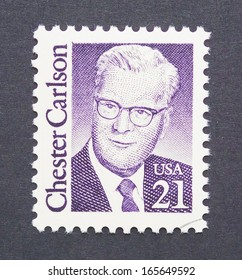 UNITED STATES - CIRCA 1988: a postage stamp printed in USA showing an image of physicist Chester Carlson, circa 1988.