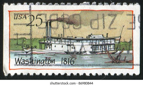 UNITED STATES - CIRCA 1989: A stamp printed by United states, shows Steamboat, circa 1989