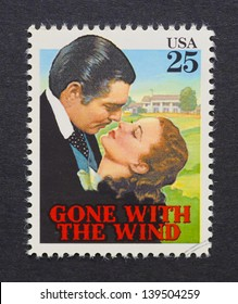 UNITED STATES - CIRCA 1990: a postage stamp printed in USA showing an image of Gone With the Wind film, circa 1990.