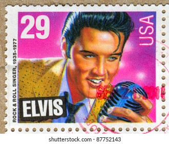 UNITED STATES - CIRCA 1992: A stamp printed by United states, shows Elvis Presley, circa 1992