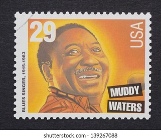 UNITED STATES - CIRCA 1994: a postage stamp printed in USA showing an image of Muddy Waters, circa 1994.