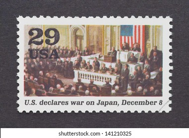 UNITED STATES - CIRCA 1995: a postage stamp printed in USA showing an image of the US War Declaration on Japan in the Second World War, circa 1995.