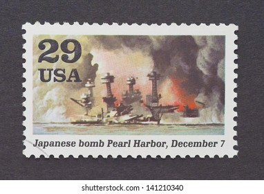 UNITED STATES - CIRCA 1995: a postage stamp printed in USA showing an image of the Pearl Harbor attack in the Second World War, circa 1995.