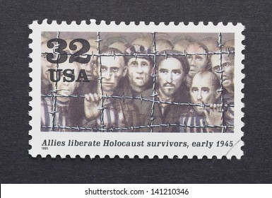UNITED STATES - CIRCA 1995: a postage stamp printed in USA showing an image of nazi concentration camps survivors in the Second World War, circa 1995.
