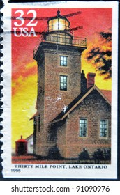 UNITED STATES - CIRCA 1995: stamp printed in USA, shows lighthouse, Thirty Mile Point, Lake Ontario, circa 1995