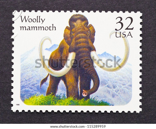 UNITED STATES - CIRCA 1996: a postage stamp printed in United States showing a Woolly Mammoth a Prehistoric animal, circa 1996.